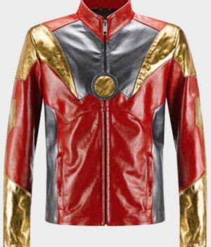Spider-Man Homecoming Iron Man Multicolor Leather Jacket Front