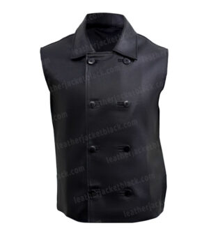 Spider-Man Into the Spider-Verse Noir Black Leather Vest Front