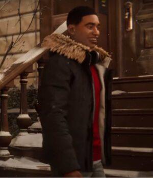Spider-Man Miles Morales Hooded Fur Collar Parka Jacket 2