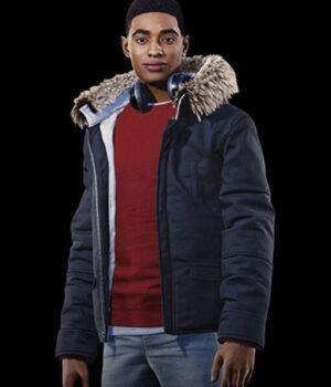 Spider-Man Miles Morales Hooded Fur Collar Parka Jacket