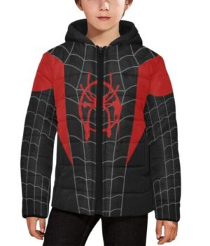 Spider-Man Miles Morales Quilted Puffer Black Hooded Jacket