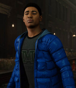 Spider-Man Miles Morales Quilted Puffer Blue Hooded Jacket