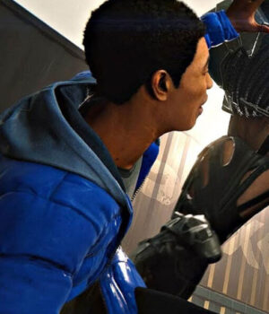 Spider-Man Miles Morales Quilted Puffer Blue Hooded Jacket 2