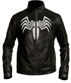 Spiderman 3 Eddie Brock Venom Black Leather Jacket Front