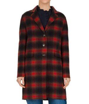 Stumptown Dex Parios Red and Black Wool Plaid Coat buttoned