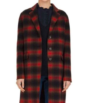 Stumptown Dex Parios Red and Black Wool Plaid Coat front open