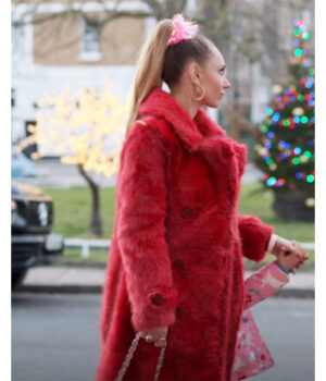 Ted Lasso Keeley Jones Red Fur Coat Side