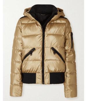 Ted Lasso S02 Keeley Jones Gold Puffer Jacket Front