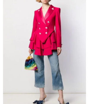 Ted Lasso S02 Keeley Jones Pink Heart Button Blazer 1