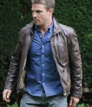The Arrow Oliver Queen Brown Leather Jacket 2