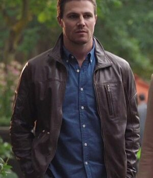 The Arrow Oliver Queen Brown Leather Jacket