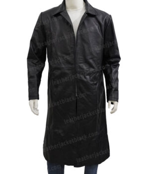The Matrix Keanu Reeves Black Leather Duster Coat Front
